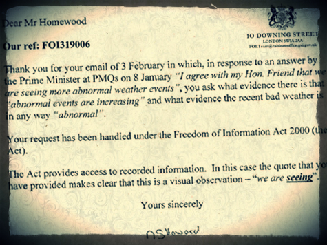 Read Number 10's Hilarious and Depressing Response to Climate Change FOI