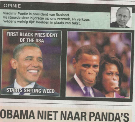 Belgian Newspaper Depicts Barack and Michelle Obama as Apes Ahead of President's Visit