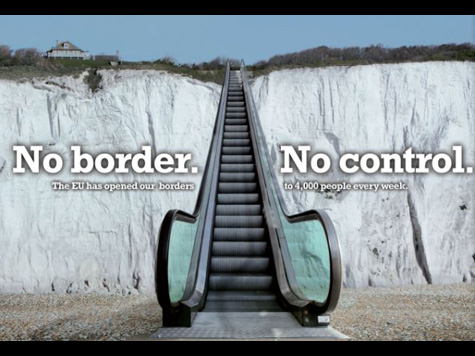 New UKIP Poster Shows Dover Cliffs' Immigrant Escalator to Britain