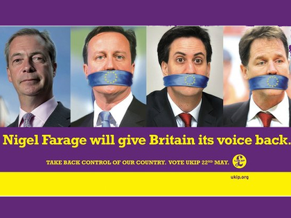 New UKIP Poster Shows Party Leaders Gagged by 'Ridiculous' EU Flag