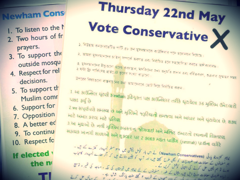 Tory Party Investigating 'Sectarian' Muslim Election Leaflets in East London