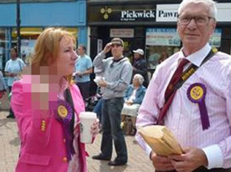 Senior UKIP Candidate Gives The Finger to Left-Wing Activists