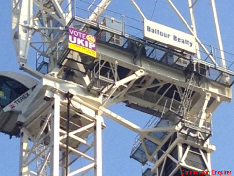 UKIP Poster Appears at Top of Crane