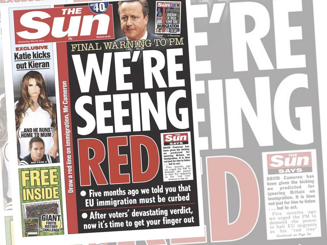 The Sun Issues 'Final Warning' to PM Cameron over UKIP, Immigration