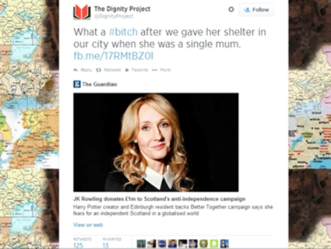 Scottish Charity's Abusive Tweet After J.K. Rowling Donates to Pro-UK Campaign