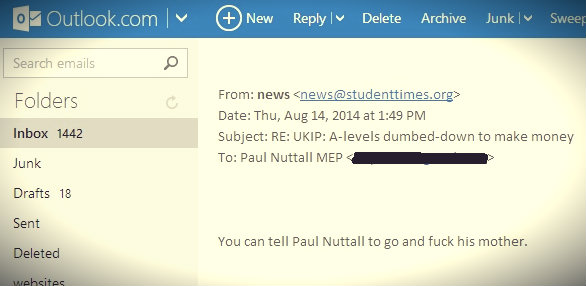 'Independent' Student Paper Tells UKIP MEP to 'F**k His Mother' Following Press Release