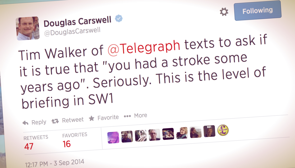 Telegraph Journo Asks UKIP Defector Carswell: Did You Have a Stroke?