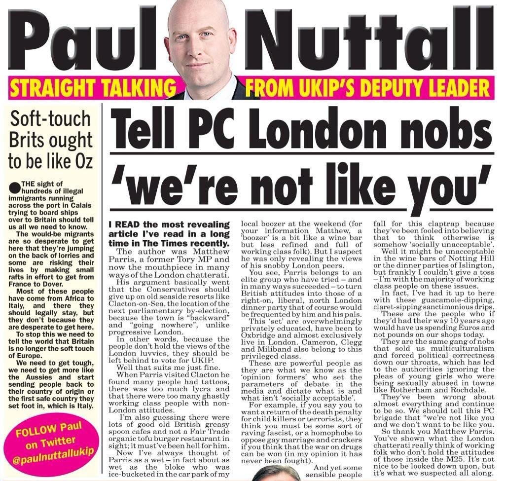UKIP on the Offensive… Literally! Deputy Leader Calls Ex-Tory MP a 'Nob'