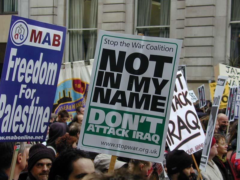 Protestors March Against Air Strikes on Iraq Jihadists