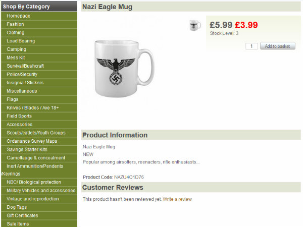British Policeman Running Online Shop Selling Nazi Eagle Mugs and Gas Chamber Signs