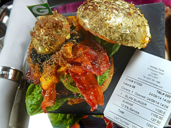 World's Most Expensive Burger Topped with Gold