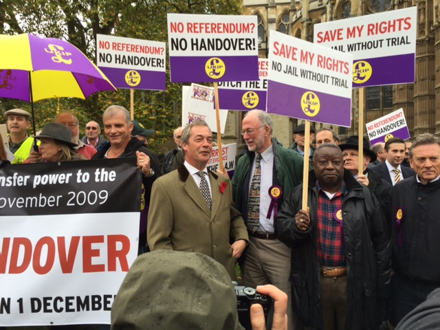 In Pictures: Nigel Farage and UKIP Activists Protest Against European Arrest Warrant