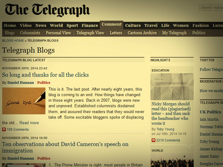 So Farewell, then, Telegraph Blogs…