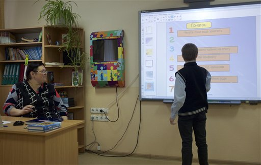 War-Hit Ukraine Schools Turn to Web for Education