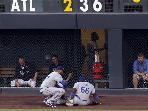 Puig 'Day-to-Day' After Leaving Game in Dodgers Win with Bruised Hip