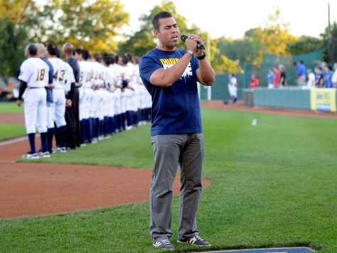 JW Cortes Sings National Anthem at Eastern League Playoff Game