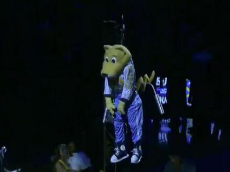 Denver Mascot Briefly Unconscious While Being Lowered from Ceiling