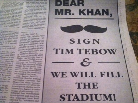 Florida Newspaper Ad to Jaguars: 'Sign Tebow & We Will Fill the Stadium'