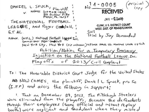 Steelers Fan in Prison Files Handwritten Lawsuit Against NFL, Claiming SD Shouldn't Have Made Playoffs