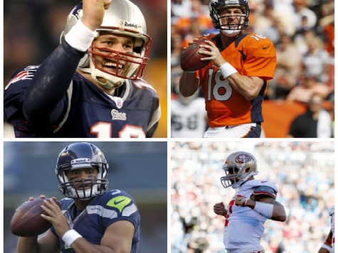 NFL Star Power: Manning, Brady, Wilson, Kaepernick One Win from Super Bowl