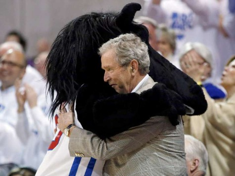 George W. Bush Hugs SMU Mascot