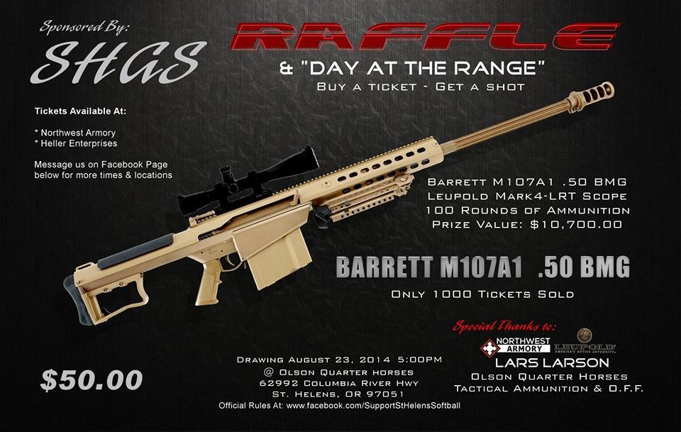 Girls Softball Association Raffling Barrett .50 Cal Rifle for Fundraiser