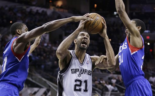 Spurs Win 14th straight; 76ers' Skid Now at 25