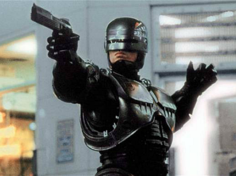 Robo Cop Throws Out First Pitch