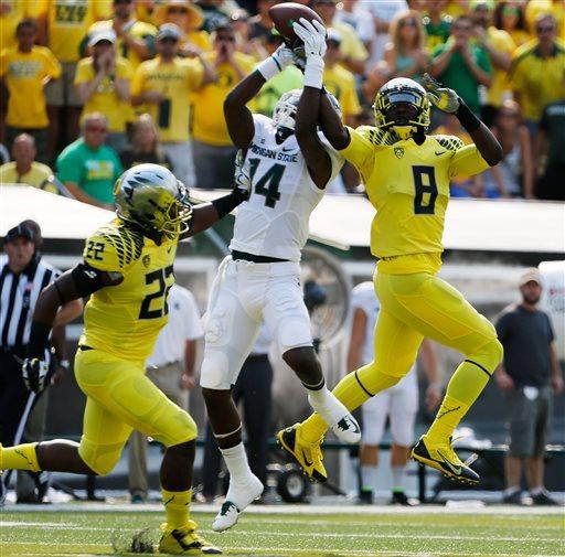 No. 3 Oregon Downs No. 7 Michigan State 46-27