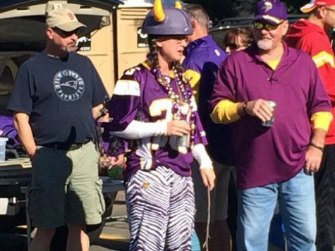 Vikings Fans Wear #28 Jersey to Support Adrian Peterson; Woman Wields a Switch Tailgating