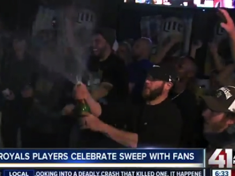 Royals Players Celebrate with Fans in the Streets