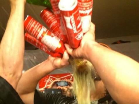 Madison Bumgarner Takes Beer Bath