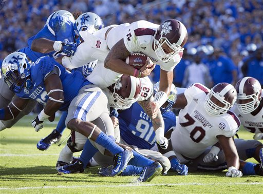 No. 1 Mississippi State Holds Off Kentucky 45-31