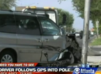 Texas Driver Follows GPS Into Light Pole
