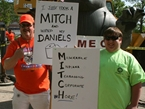 Unions Rally Against Mitch Daniels In Illinois