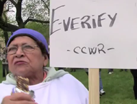 May Day Protestors Cannot Explain Signs