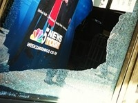 NATO Protesters Break Window At Chicago TV Station
