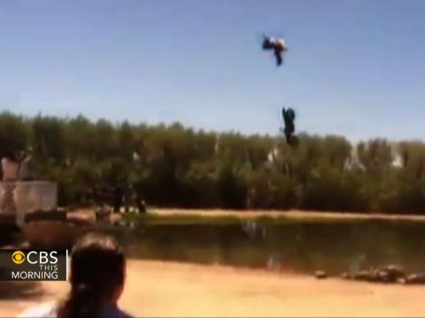 Caught on Video: Motorcycle stuntman overshoots jump