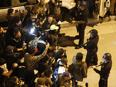 Female Officer Injured In #OccupyLA Clash, Man Arrested