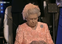 Queen Appears Bored As British Team Enters Olympic Stadium