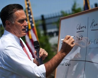 Romney Uses White Board On Medicare Issue