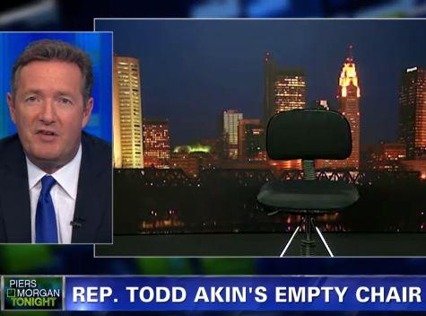 Piers Morgan Scolds An Empty Chair, Calls Akin 'Gutless Little Twerp'