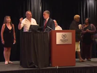 Protesters Rush Stage At RNC IL Delegate Meeting