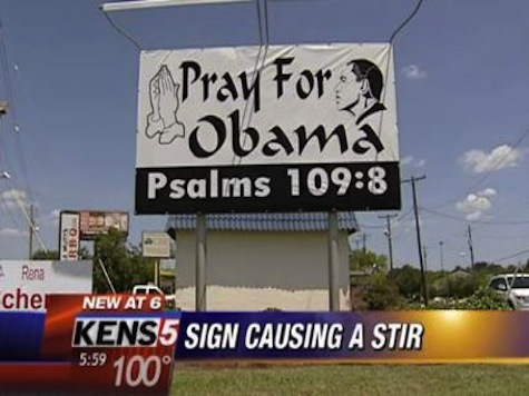 'Pray for Obama' Sign Stirs Controversy Over Biblical Verse