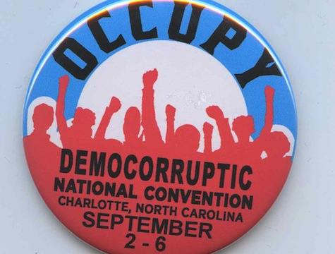 Protesters march at the Democratic National Covention