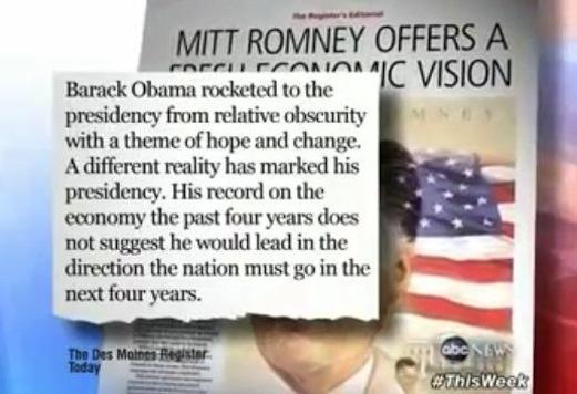 Obama's Cutter Attacks Des Moines Register For Romney Endorsement