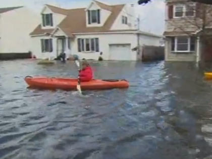 Aftermath In Lindenhurst, NY: Residents Kayak To Homes