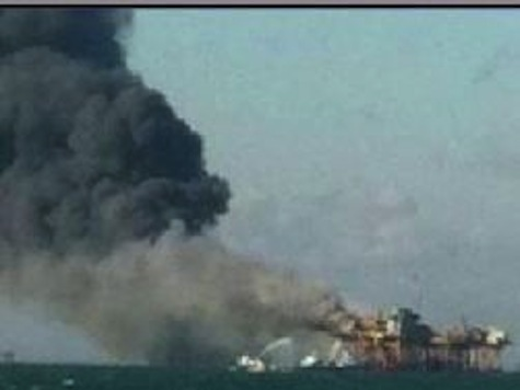 Rig Burning In Gulf Of Mexico