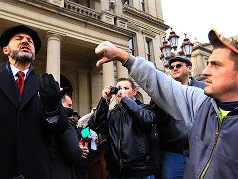 Union Protestors Storm Michigan Capitol For Right to Work Vote