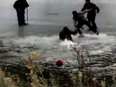 Entire Hysterical Crowd Falls Into Icy Lake Trying To Save Each other